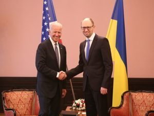 Vice President Joe Biden meeting Prime Minister Yatsenyuk of Ukraine in April 2014.