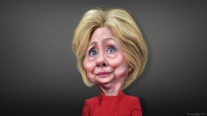 Hillary Clinton caricatured by Donkey Hotey. Source CC Creative Commons.