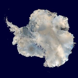 Antarctica, the ice-covered continent having a record-breaking heat wave. NASA.