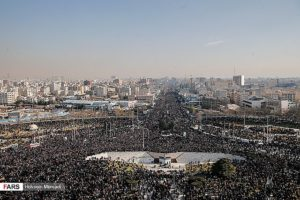 Several million Iranians in Tehran throng toward the Soleimani and al-Muhandis Funeral. Source: Tasnim News Agency.