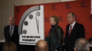 Members of the Bulletin of the Atomic Scientists also include elder statesmen, peace and human rights activists such as seen here: Ban Ki-Moon (right) former United Nations Secretary-General. Mary Robinson (center) former Irish president and United Nations High Commissioner for Human Rights. Jerry Brown (left) Governor of California from 1975-83 and 2011-19 who holds the executive chair of the Bulletin of the Atomic Scientists.