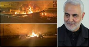 Soleimani's motorcade in flames minutes after the drone strike.