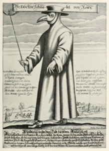 It is thought that Nostradamus might have worn such a mask and protective rough wool or leather gear to fight the plague.