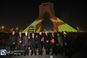Azadi Tower in Tehran is lit in support of ally China fighting against the coronavirus alongside Iran.