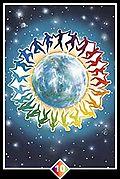The World Card, the Ten of Rainbows. Osho Zen Tarot