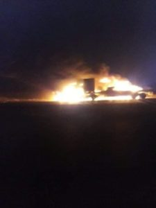Iranian retaliation? A US logistics convoy set on fire by Iranian-backed Iraqi militia. 11 July 2020.