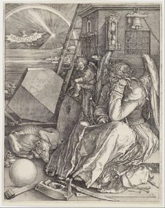 Oh Mercury, Mercury! You are stuck in the melancholic funk  of Jupiter in Capricorn. 1514 wood engraving by Albrecht Dürer.