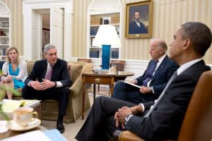 "This photo of a meeting with Robert Mueller when he was FBI Director in July 2012 with President Obama and Vice President Biden in the Oval Office is just to illustrate how ""non-independent"" was his choice, five years later, to be picked by his successor, Obama's FBI pick Comey, as an ""independent"" Special Counsel to investigate incoming President Trump in 2017."