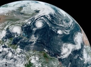 Hurricane Paulette, Tropical Depression Rene, Hurricane Sally, Tropical Storm Teddy and Tropical Storm Vicky on September 14, 2020. NASA.