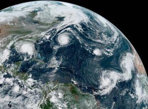 Hurricane Paulette, Tropical Depression Rene, Hurricane Sally, Tropical Storm Teddy and Tropical Storm Vicky on September 14, 2020. NASA.