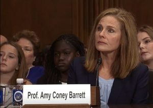Future Justice Amy Coney Barrett during her US Senate hearing. Source, CSPAN.