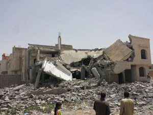 House destroyed by Saudi air strike in the Houthi capital of South Sanaa. Photo, Ibrahem Qasim, © Creative Commons.