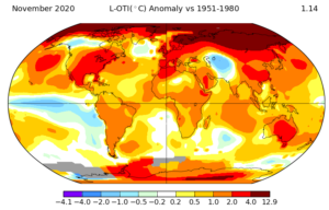 Notice the shrinking blue spectrum cold temperatures compared to the warm to exceedingly record breaking browns. Notice the great brown bulge covering much of Eastern Siberia. The bulge has been there for several years now, and it is growing. It may indicate the a great release of land and ocean-based permafrost, one of the ecosystem's key sequestering engines of C02/methane, beginning a global warming cascade.