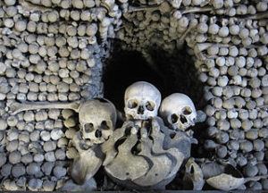 Bones inside the ossuary below the Cemetery Church of All Saints in Sedlec, a suburb of Kutná Hora in the Czech Republic. The ossuary is estimated to contain skeletons of between 40,000 and 70,000 people.