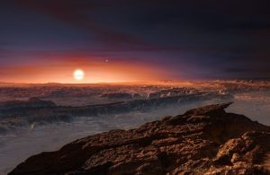Planet Proxima Centauri b portrayed as an arid rocky super-earth by ESO artist M. Kornmesser, © Creative Commons.