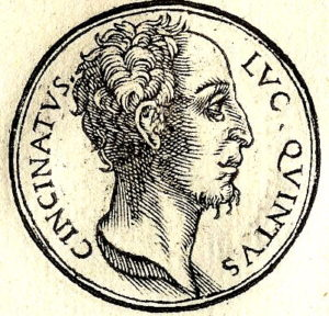 Woodcut portrait of Lucius Cincinnatus by Guillaume Rouille, circa 1553.