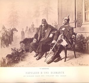 The defeated Emperor Napoleon III (left) sitting with the victor and his captor, Otto von Bismarck (right) after the Battle of Sedan.