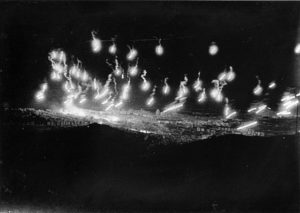 "RAF (Royal Air Force) bombers lighting Genoa up with Flares to be ""lit up"" by bombs."