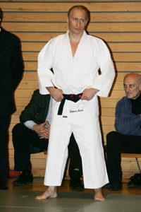 Vladimir Putin getting ready for a Judo match.