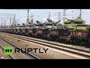 Russian tanks on trains, heading for the Ukrainian border. Source: RUPLY.