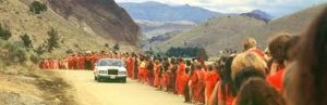 """Osho during the daily """"Drive-By"""" celebrations."""